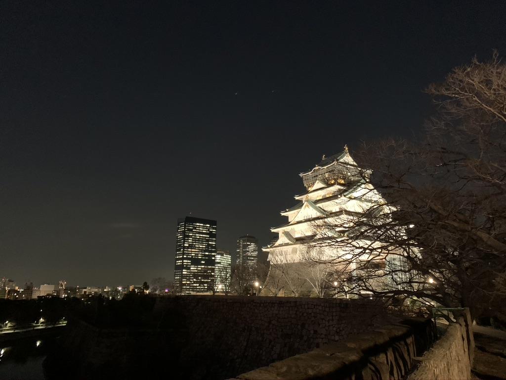 大阪城 夜景 天守閣とビル