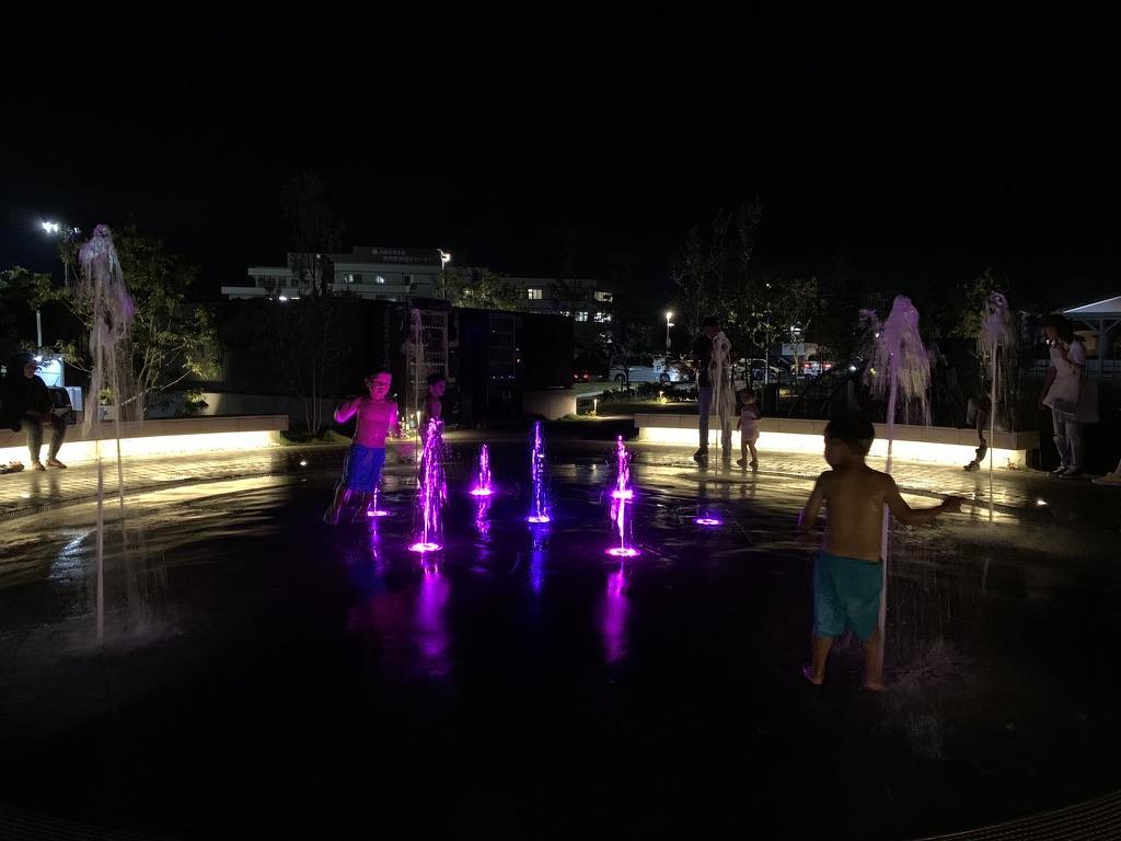 泉南ロングパーク 噴水 夜中