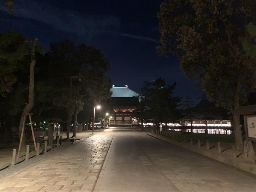 東大寺 中門 参道 夜間 ライトアップ