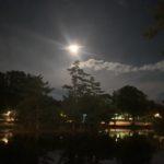 東大寺 鏡池 月 夜間