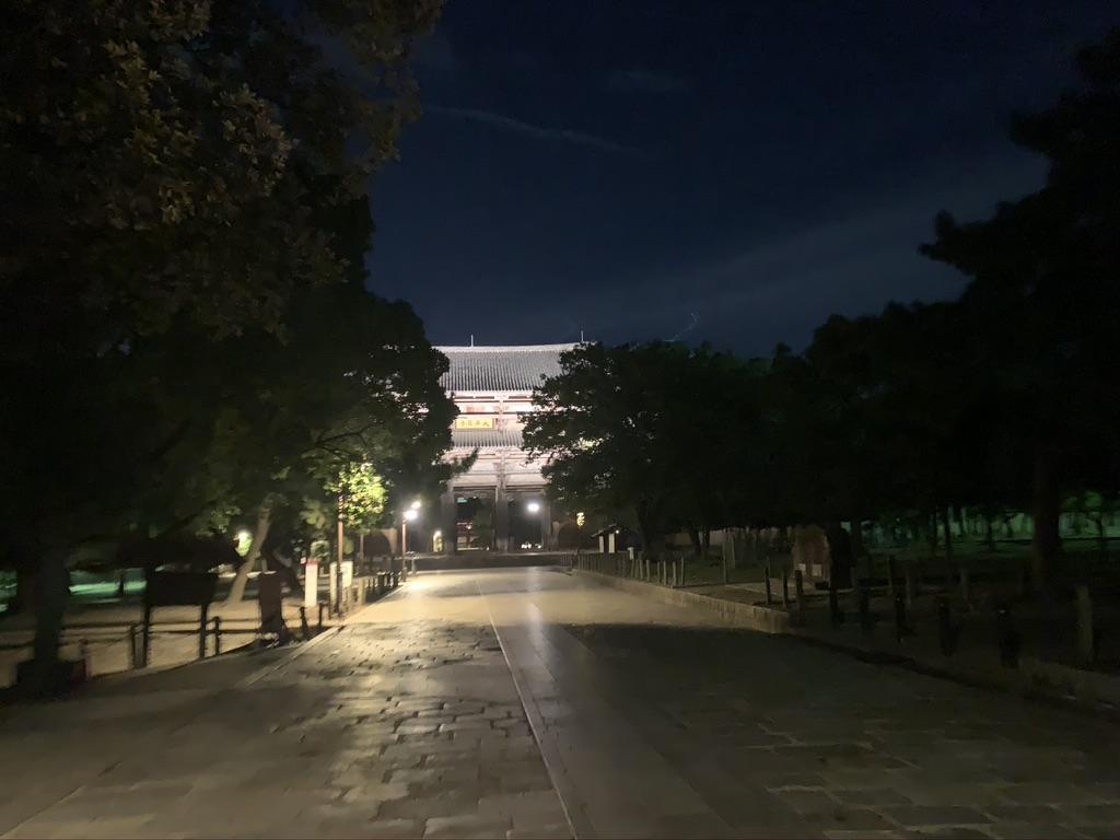 東大寺 参道 夜間 ライトアップ