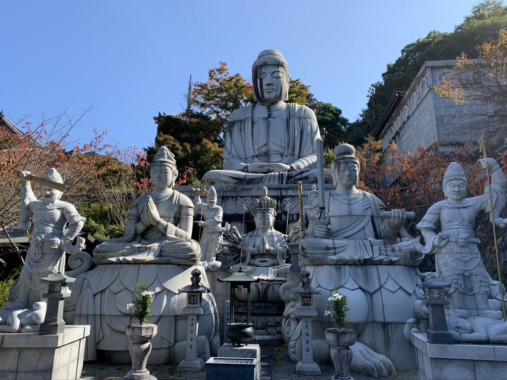 壺阪寺  天竺渡来 大釈迦如来石像 十一面千手観音菩薩像 文殊菩薩石像 普賢菩薩石像
