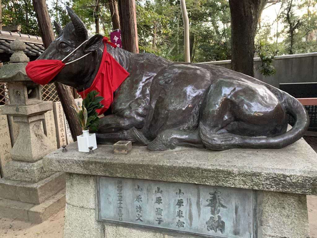 土生神社 狛牛